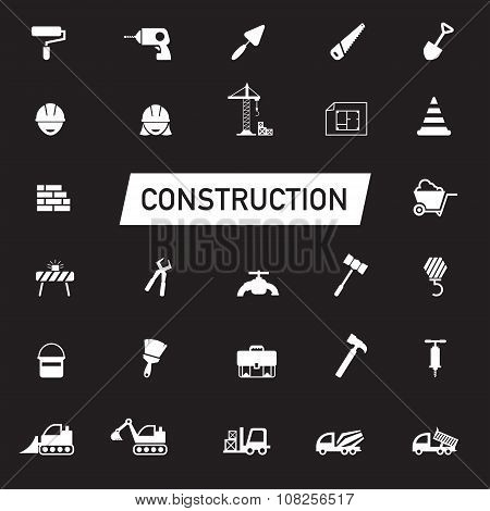 White silhouette Civil engineering maintenance labor excavator transport and construction site industry graphic tool equipment sign and symbol icon collection set create by vector poster