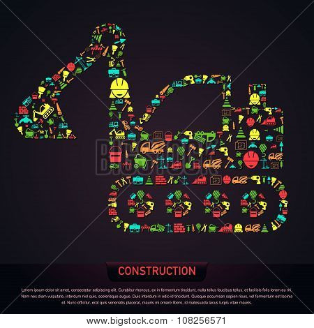 Civil Engineering Construction Site Infographic Banner Template Layout Icon Design In Excavator Trac