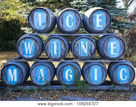 Wine Barrels in an Ice Wine Winery