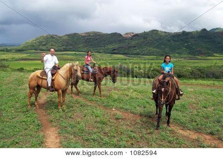 Dad And Daughters Ride On Horses  Hawaiian Greeting