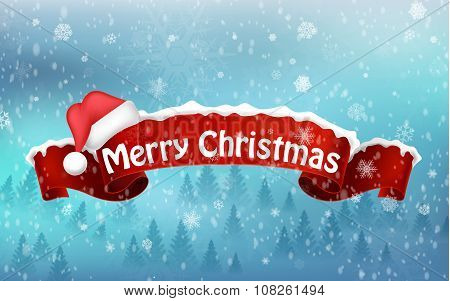 Merry christmas background with red realistic ribbon banner and snow