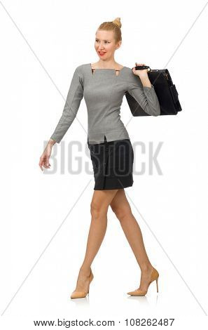 Woman  with briefcase isolated on white