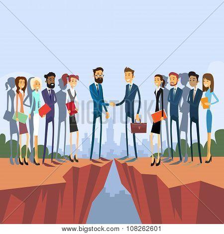 Businessman Handshake Over Cliff Gap Mountain