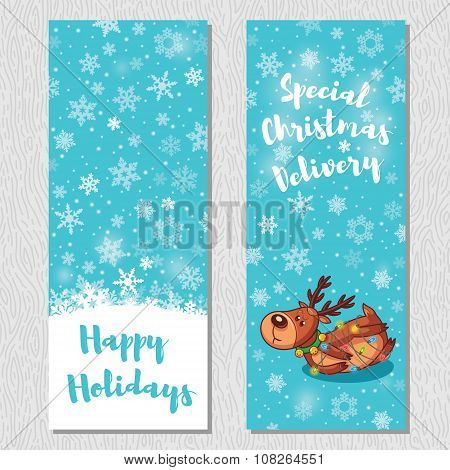 Happy Holidays design vertical background set with cute cartoon deer