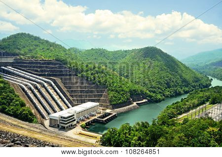 Clean Energy By Hydropower Plant From Downstream Water.