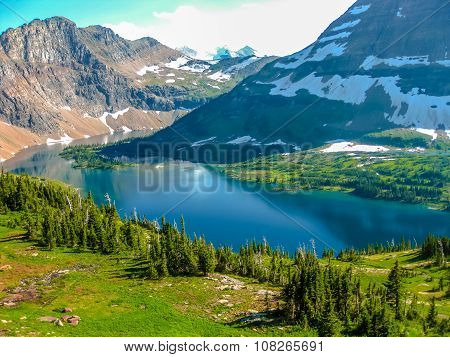 Spectacular aerial view of Hidden Lake Overlook in Glacier National Park, Montana, United States. poster
