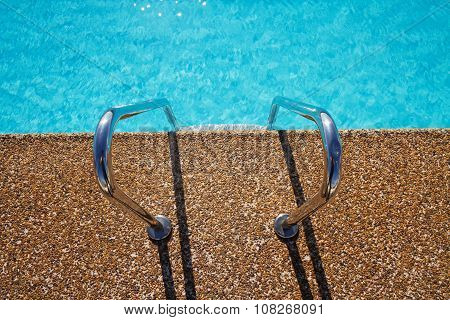 Overhead View Of Inviting Aqua Swimming Pool  Steps