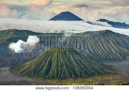 Mount Bromo and Batok volcanoes in Bromo Tengger Semeru National Park, East Java, Indonesia.