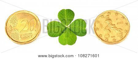 Euro coins and clover leaf isolated on white