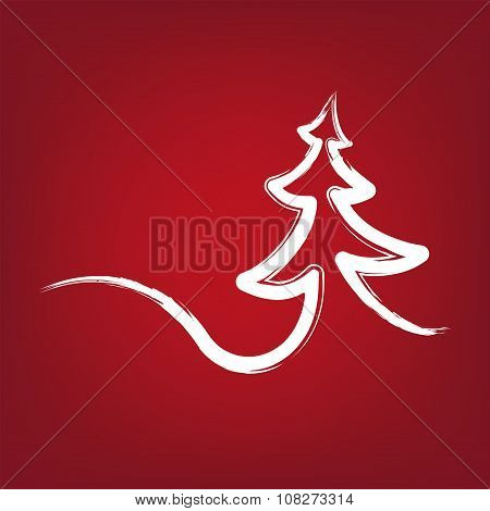 christmas-tree strokes symbol drawn  vector illustration
