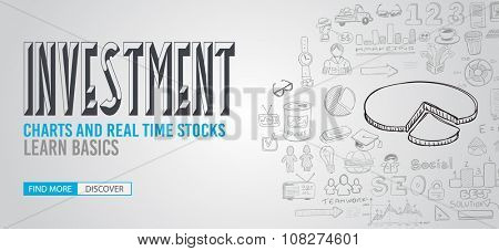 Investment Chart concept with Doodle design style :Best Deals stock tradings, creative strategy. Modern style illustration for web banners, brochure and flyers.