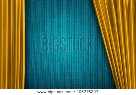 Yellow curtain on theater or cinema stage slightly open