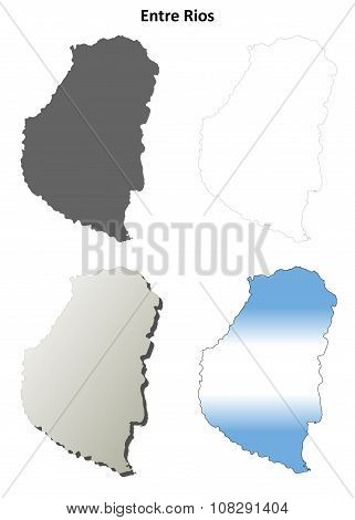 Entre Rios blank outline map set