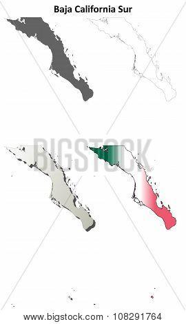 Baja California Sur outline map set