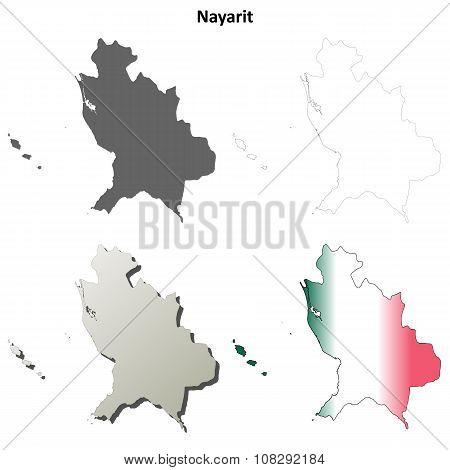 Nayarit blank outline map set