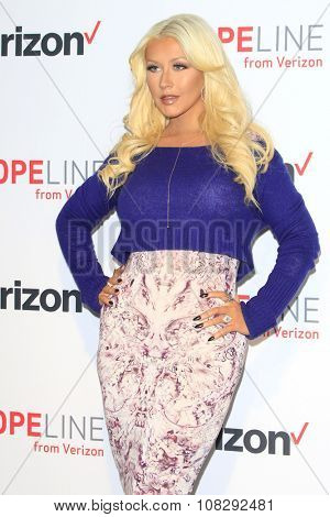 LOS ANGELES - NOV 12:  Christina Aguilera Raises Awareness About Domestic Violence with at the Verizon's HopeLine Program at the The London Hotel on November 12, 2015 in West Hollywood, CA