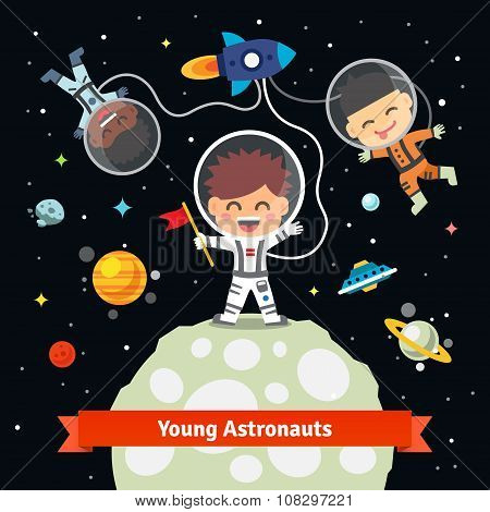 Astronaut kids on space international expedition