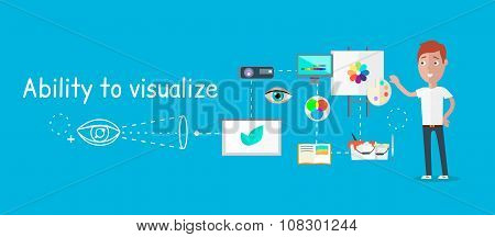 Man ability to visualize concept. Capability and talent, competence and potential, capacity and aptitude, skill visual, activity spatial, education pastime, self professional illustration poster