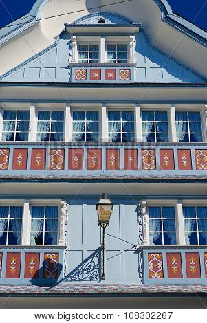 Exterior of the traditional Appenzell wooden building in Appenzell, Switzerland.