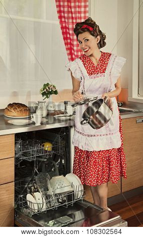 Retro Housewife At Home