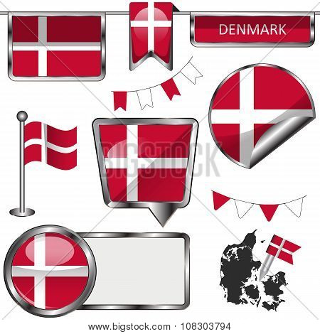 Vector glossy icons of flag of Denmark on white poster