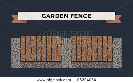 Wooden and stone fence isolated on night background