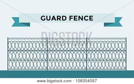 Metallic fence isolated on background