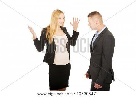 Pregnant woman arguing with her business partner poster