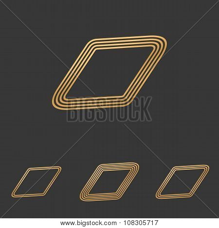 Bronze line rhombus shape logo design set poster