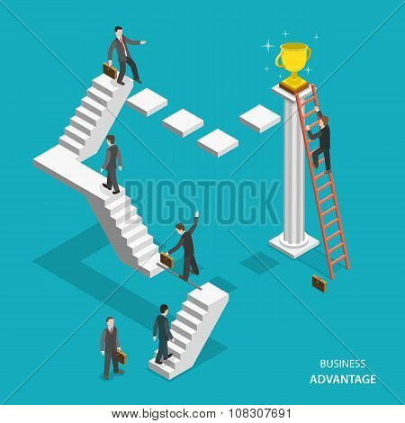 Business advantage isometric flat vector concept.