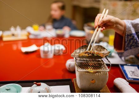 Traditional Japanese breakfast cooked with Hibachi stove grill, Takayama region food poster