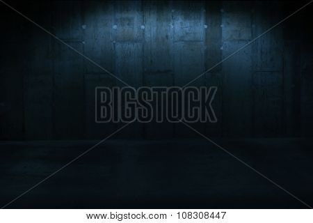 Dark Abstract Background - Architectural Close Up of Dimly Lit Wall in Industrial Building with Copy Space