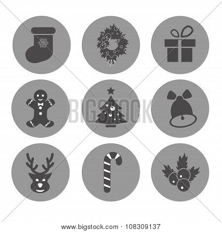 Vector Christmas Icons. Each Icon Is A Single Object Compound Path. Simples Series