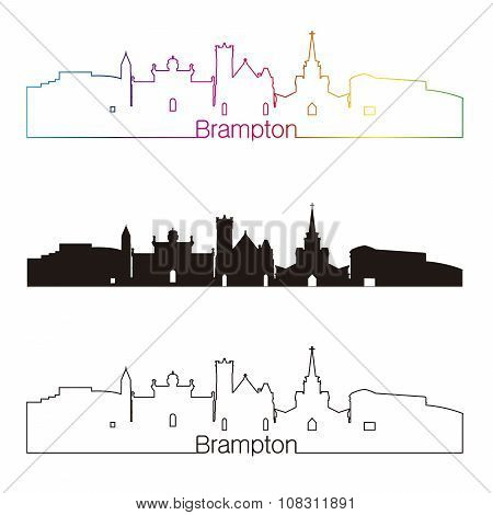 Brampton Skyline Linear Style With Rainbow