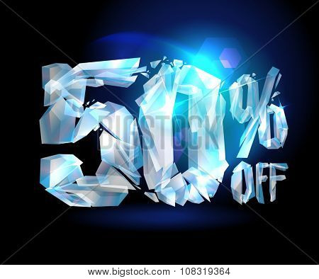 50 % off sale coupon ice design, rasterized version.