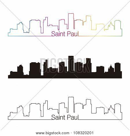 Saint Paul Skyline Linear Style With Rainbow