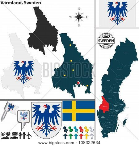 Map Of Varmland, Sweden