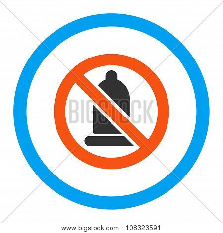 Forbidden Condom glyph icon. Style is flat rounded symbol, bright colors, rounded angles, white background. poster