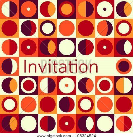 Invitation, Wedding Or Greeting Card Template. Elegant Frame Over Pattern Background Design