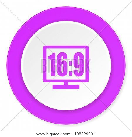 16 9 display violet pink circle 3d modern flat design icon on white background