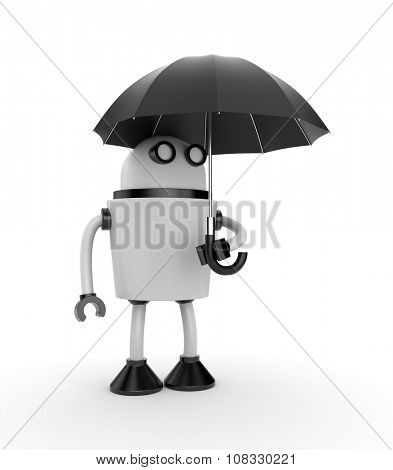 Person and umbrella