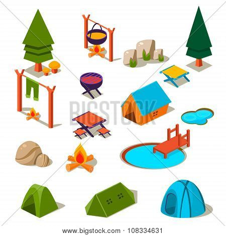 Isometric 3d forest camping elements for landscape design vector