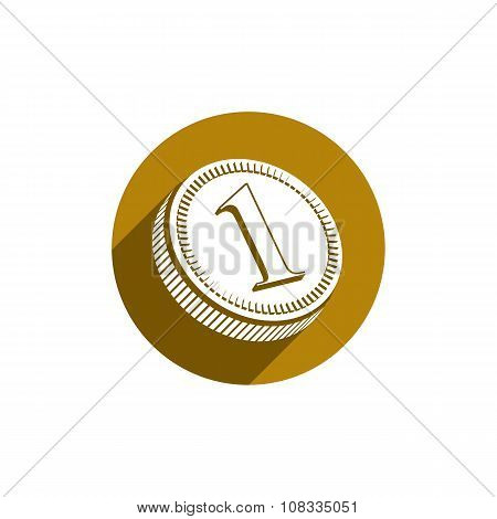 Golden coin vector icon, financial and investment symbol