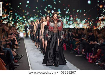 ZAGREB, CROATIA - OCTOBER 31, 2015: Fashion models wearing clothes designed by Boris Banovic on the 'Fashion.hr' fashion show