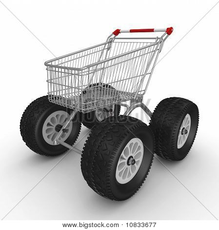 3D Shopping Push Cart