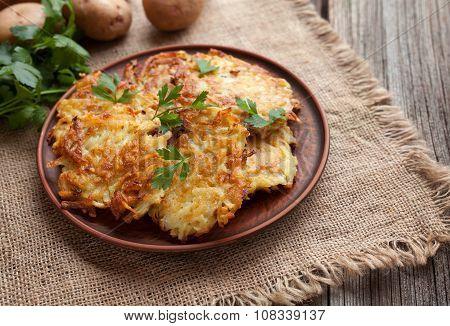 Traditional potato pancakes or latke homemade jewish food Hanukkah celebration recipe. Homemade orga