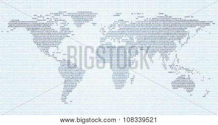 World Map Made  Binary Code