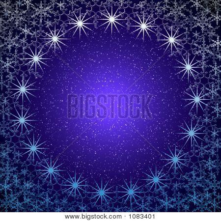 Christmas Blue Snow Frame