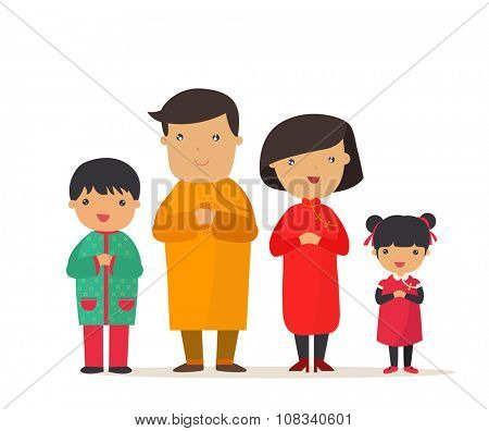 A traditional chinese new year celebration, Happy family