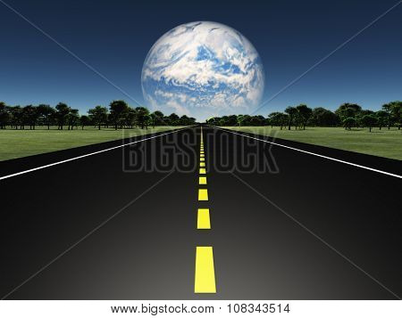 Road on Alien earth like planet with twin planet in distance or earth with tearraformed moon